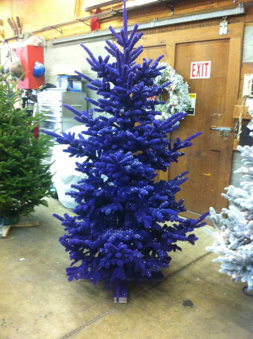 Christmas Trees Decorated In Blue